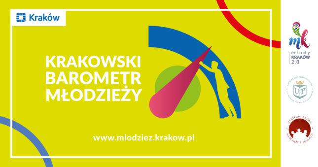 Żółta grafika z napisem krakowski barometr młodzieży