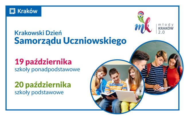 Grafika z hasłem Krakowski Dzień Samorządu Uczniowskiego, 19 i 20 października