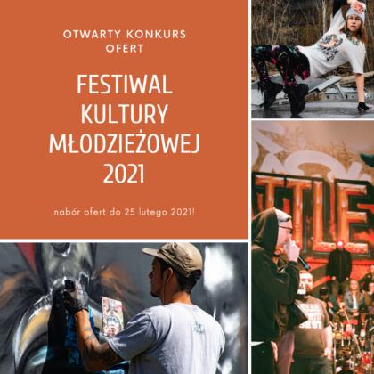 Grafika z hasłem Otwarty konkurs ofert, Festiwal kultury młodzieżowej 2021, na zdjęciach chłopak malujący graffiti, tańcząca dziewczyna