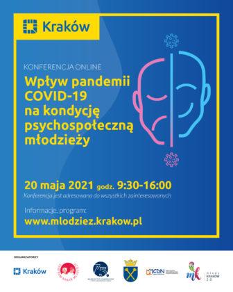 """Plakat.Konferencja naukowa """"Wpływ pandemii covid-19 na kondycję psychospołeczną młodzieży"""""""