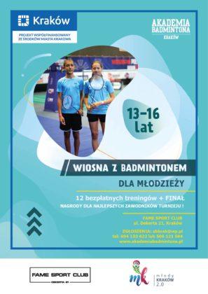 Plakat promujący zapisy do projektu Wiosna z badmintonem