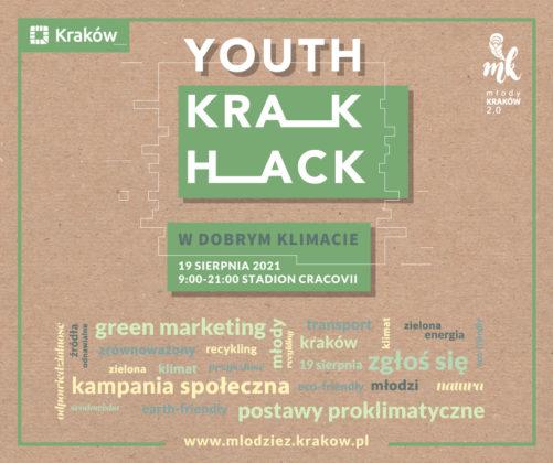 Grafika z napisem Youth Krak Hack w dobrym klimacie, z rozsypanką ze słów: green marketing, zgłos się, postawy proekologiczne.
