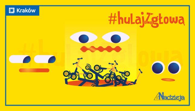 Grafika z hasłem #hulaj z głową i z hulajnogami